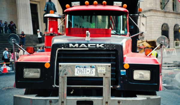 Mack truck with New York license plate